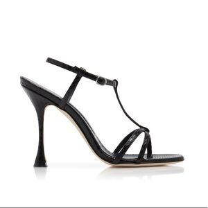 Manolo Blahnik Black T Strap Open Toe Sandals